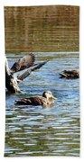 Ducks On Colorful Pond Bath Towel
