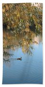 Ducks On Peaceful Autumn Pond Bath Towel