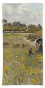 Dune Landscape With Children And Sheep Bath Towel