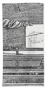 Durers Perspective Drawing Of A Lute Bath Towel
