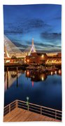 Dusk At The Zakim Bridge Bath Towel