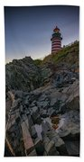 Dusk At West Quoddy Head Lighthouse Bath Towel