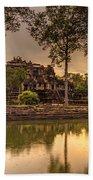 Dusk Light Preah Khan Temple Reflection Bath Towel