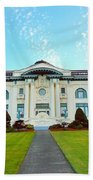 Dusk On Pacific County Historical Courthouse  Hand Towel