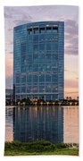 Dusk Panorama Of The Woodlands Waterway And Anadarko Petroleum Towers - The Woodlands Texas Hand Towel