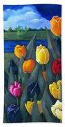 Dutch Tulips With Landscape Bath Towel