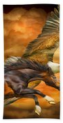 Eagle And Horse - Spirits Of The Wind Bath Towel
