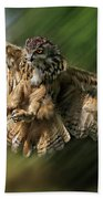 Eagle Owl Landing Bath Towel