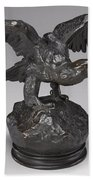 Eagle With Wings Outstretched And Open Beak Bath Towel