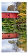 Early Fall Colors Surround A Covered Bridge In Vermont Bath Towel