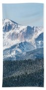 Early Morning Snow On Pikes Peak Bath Towel