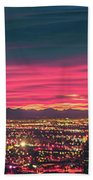 Early Morning Sunrise Over Valley Of Fire And Las Vegas Bath Towel