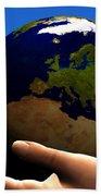 Earth Globe Hand Towel