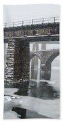 East Falls - The Frozen Schuylkill River Bath Towel