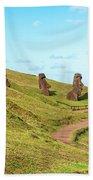 Easter Island Moai At Rano Raraku Bath Towel