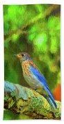 Eastern Blue Bird With Flair Bath Towel