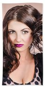 Edgy Hair Fashion Model With Brunette Hairstyle Bath Towel