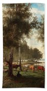 Edvard Bergh, Summer Landscape With Cattle And Birches. Bath Towel