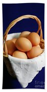 Eggs In A Wicker Basket. Bath Towel