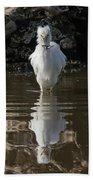 Egret Catches A Stickleback Bath Towel