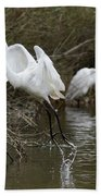 Egret Exit Hand Towel by George Randy Bass
