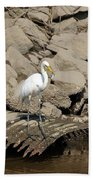 Egret Fishing Bath Towel