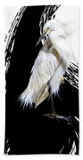Egret Hand Towel by Sandi Baker