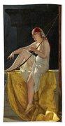 Egyptian Woman With Harp Bath Towel
