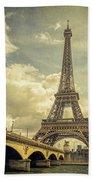 Eiffel Tower And Pont D'lena Vintage Bath Towel