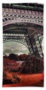 Eiffel Tower Surreal Photo Red Trees Paris France Bath Towel