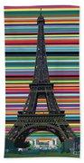 Eiffel Tower With Lines Bath Towel