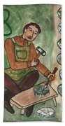 Eight Of Pentacles Illustrated Hand Towel