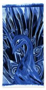 Electric Blues Peacock Bath Towel