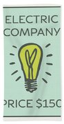 Electric Company Vintage Monopoly Board Game Theme Card Bath Towel