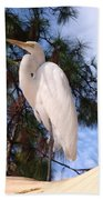 Elegant White Crane Bath Towel