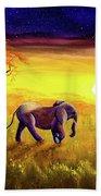 Elephant In Purple Twilight Bath Towel