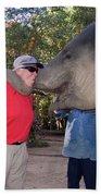 Elephant Kissing Man Holding Bananas Bath Towel