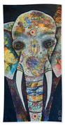 Elephant Mixed Media 2 Bath Towel