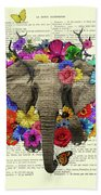 Elephant With Colorful Flowers Illustration Bath Towel