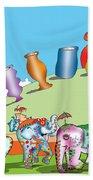 Elephants And Urns On A Hill Bath Towel