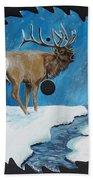 Elk In Snow Bath Towel