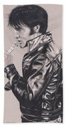 Elvis In Charcoal #177, No Title Bath Towel