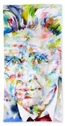 Emil Cioran - Watercolor Portrait Bath Towel