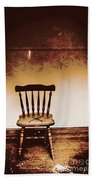 Empty Wooden Chair With Cross Sign Bath Towel