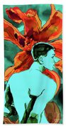 Enchanted Boy With Lilies Bath Towel