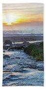 End Of The Road - Creek Runs Into Pacific Ocean At Big Sur Bath Towel