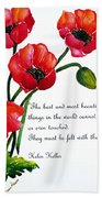 English Poppy   Poem Bath Towel