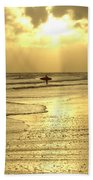 Enjoying The Beach At Sunset Bath Towel
