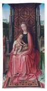Enthroned Virgin And Child, With Angels Bath Towel