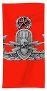 Eod Master Badge Emblem On Red Bath Towel